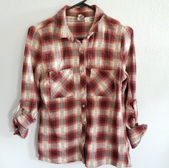 Anthropologie Tops - Anthropologie 100% Cotton Flannel Blouse